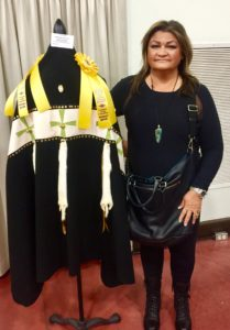 Catherine with her 'Star Beings Holy Ceremonial Robe' at 2017 Heard Museum awards reception